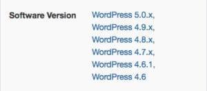 Les versions de WordPress compatibles.