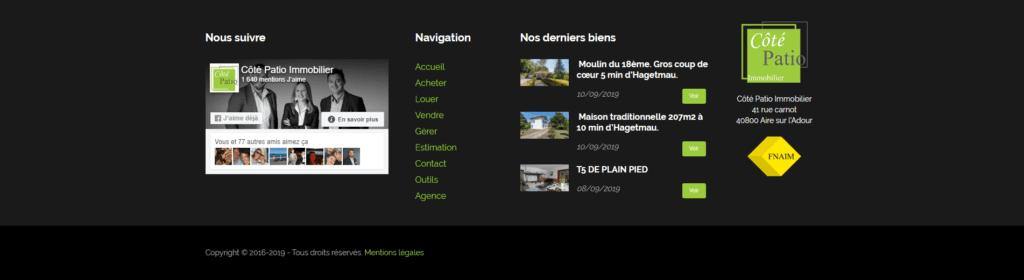 Footer Côté Patio Immobilier